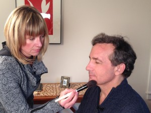 Jen touches up Dr. Segal during HD Medical Marketing's recent eMerit video shoot.